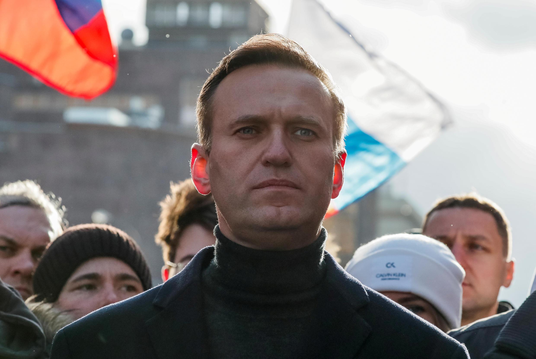 L'opposant russe Alexeï Navalny prend part à une manifestation en honneur de l'opposant Boris Nemtsov, le 27 février 2020 à Moscou.