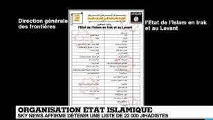 Document  diffusé mercredi 9 mars par une chaîne d'information arabe faisant apparaître des noms de membres de l'EI.