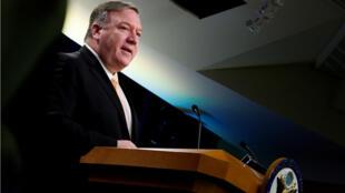 Le secrétaire d'État américain, Mike Pompeo, lors d'une conférence de presse à Washington, le 22avril.
