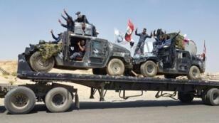 صورة وزعتها الشرطة الاتحادية في العراق لآلية تنقل عتادا إلى منطقة تلعفر في 15 آب/أغسطس 2017