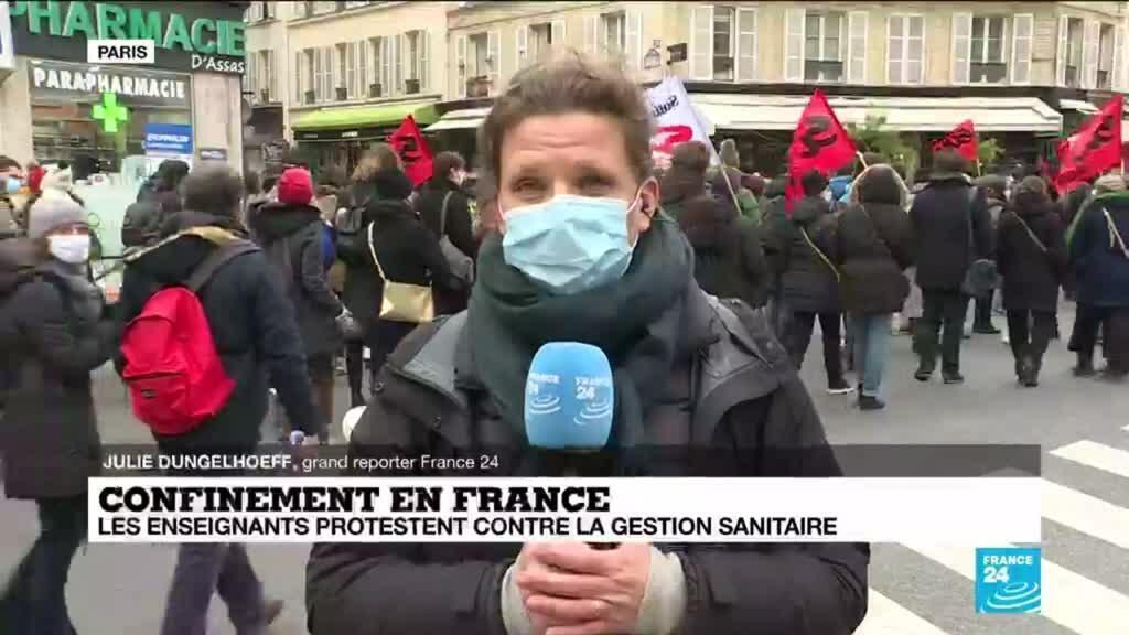 2021-01-26 14:06 Confinement en France : les enseignants protestent contre la gestion de la crise sanitaire