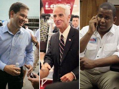 Le candidat républicain Marco Rubio (à gauche), l'indépendant Charlie Crist (au centre) et le démocrate Kendrick Meek (à droite).