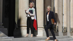 French Environment Minister Barbara Pompili, left, and newly appointed secretary of state for biodiversity Berangere Abba at the Elysee Palace in Paris on Monday.