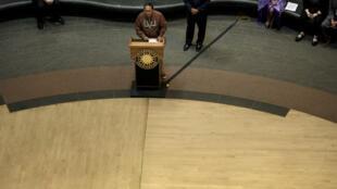 Kurt Riley, le gouverneur de la tribu Acoma, lors d'une conférence de presse à Washington, le 24 mai 2016.