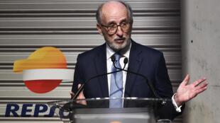 El presidente del grupo petrolero español Repsol, Antoni Brufau, en la presentación del nuevo equipo de motocilismo Repsol Honda el 23 de enero de 2019 en Madrid