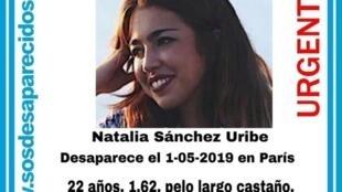 Natalia Sánchez Uribe en una fotografía difundida por Sosdesaparecidos.es