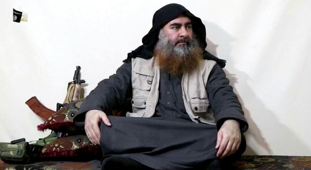 Fotografía que pertenecería al dirigente del autodenominado Estado Islámico, Abu Bakr al-Baghdadi, tomada de un video revelado el 29 de abril de 2019.