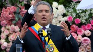 El presidente colombiano, Iván Duque, durante su posesión en el poder el 7 de agosto de 2018 en Bogotá, Colombia.
