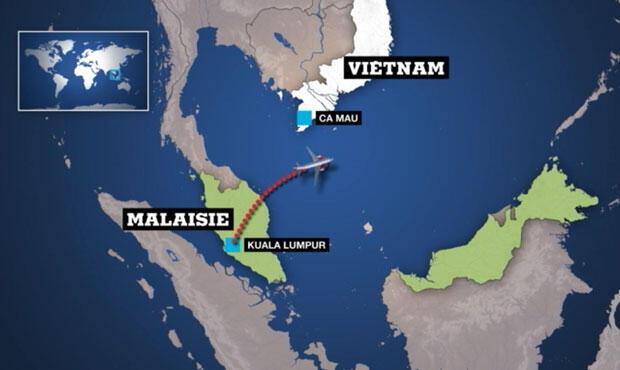 Carte montrant le trajet de l'avion et l'endroit où le contact a été perdu
