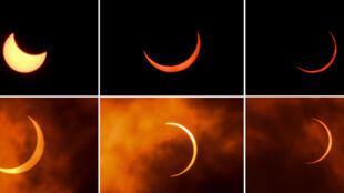 Serie de imágenes de la luna desplazándose delante del sol durante eclipse anular, en Nueva Delhi, el 21 de junio de 2020