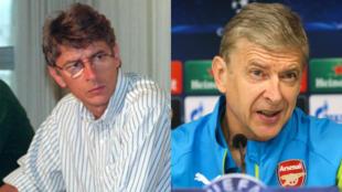 À gauche, Arsène Wenger en 1993 alors qu'il était entraîneur de Monaco, à droite en octobre 2014 à la tête de l'équipe d'Arsenal