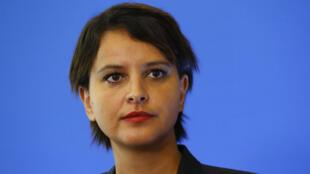 Najat Vallaud-Belkacem lors d'une conférence de presse le 25 août 2016, à Paris.