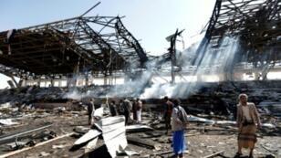 موقع غارة جوية نسبها المتمردون الحوثيون إلى السعودية في صنعاء 5 تشرين الثاني/نوفمبر، 2017