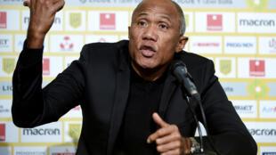 Le nouvel entraîneur du FC Nantes, Antoine Kombouaré, lors de sa présentation officielle, le 11 février 2021 au stade de La Beaujoire à Nantes