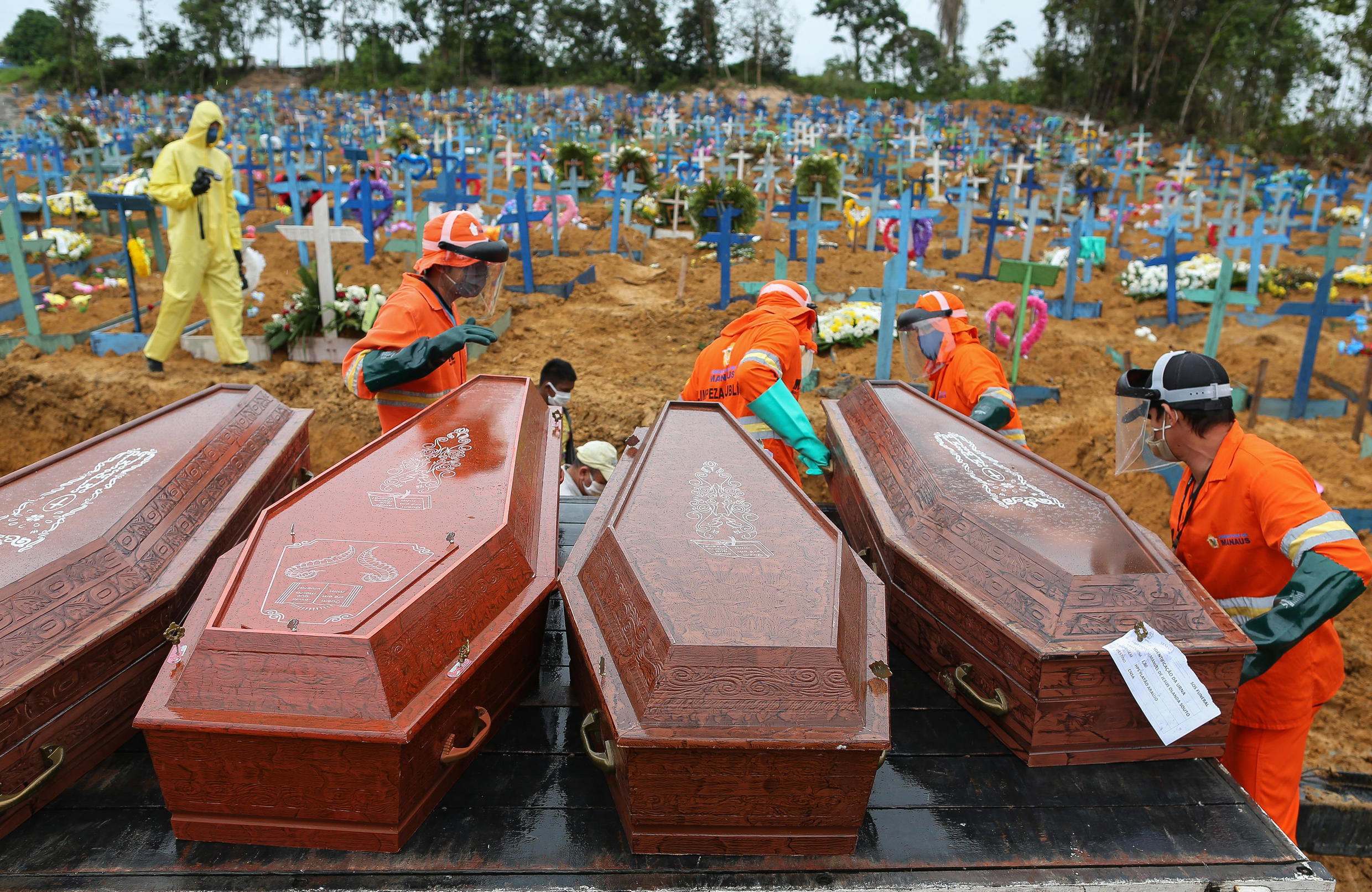 Covid-19 victims are buried at the Nossa Senhora de Manaus cemetery in Manaus, Brazil, on April 6, 2020.