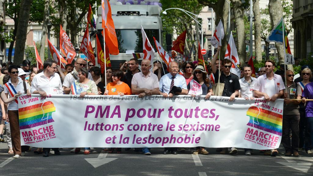 Des participants à la Gay pride favorables à la PMA à Lyon en juin 2013.