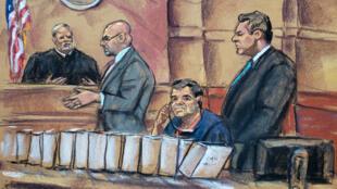 """El narcotraficante mexicano Joaquín """"El Chapo"""" Guzmán (sentado) escucha a su abogado Eduardo Balarezo (segundo de izquierda a derecha) hacer su petición al juez Brian Cohan (izquierda), junto a su colega Jeffrey Lichtman (derecha) durante su comparecencia el martes 30 de octubre de 2018, ante un juez en Brooklyn, Nueva York (EE. UU.)."""