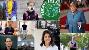 Algunos de los nombres que surgen como posibles candidatos al Premio Nobel de Paz 2020. Arriba a la izquierda, la activista climática sueca Greta Thunberg y a la derecha la canciller alemana Angela Merkel, justo encima de la exfuncionaria de inteligencia estadounidense Chelsea Manning. Abajo de Thunberg, de izquierda a derecha, el presidente estadounidense Donald Trump, el opositor ruso Alexéi Navalny y un cartel en favor de la liberación del fundador de Wikileaks, Julian Assange. Abajo, de izquierda a derecha, el exfuncionario de la CIA Edward Snowden, el edificio de la Corte Europea de Derechos Humanos y la activista saudita en favor de los derechos de las mujeres, hoy en prisión, Loujain al-Hathloul.