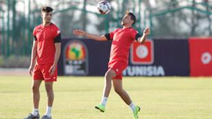 Les Tunisiens à l'entraînement à Suez.