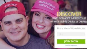 Capture d'écran de la page d'accueil du site de rencontres entre partisans de Donald Trump.