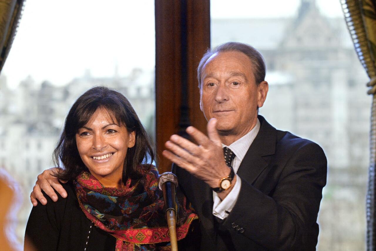 Paris Mayor Bertrand Delanoë and his first deputy, Anne Hidalgo, at Paris City Hall on January 8, 2003.