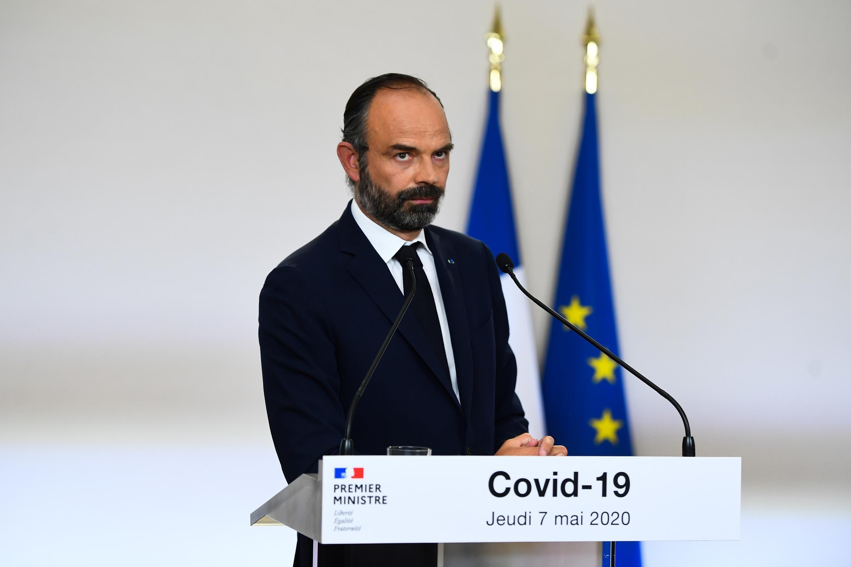 El primer ministro francés, Edouard Philippe, detalla los planes para el fin del bloqueo ante el Covid-19 en una conferencia de prensa en París, el 7 de mayo de 2020.
