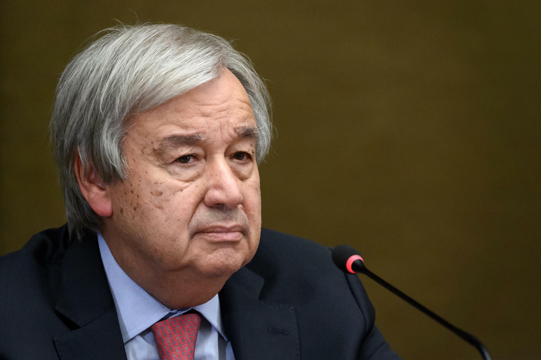El secretario general de la ONU, Antonio Guterres, durante una  rueda de prensa, en Ginebra, el 13 de septiembre de 2021.