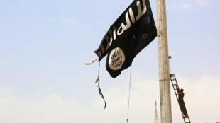 Un membre des Forces démocratiques syriennes enlève un drapeau de l'organisation État islamique le 30 avril 2017.