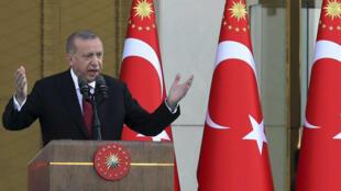 Le président Erdogan lors de sa prestation de serment devant le palais présidentiel à Ankara, le 9 juillet.