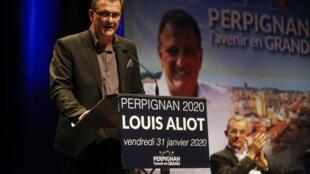 Louis Aliot (RN), alors candidat à la mairie de Perpignan, lors d'un meeting le 31 janvier 2020 à Perpignan