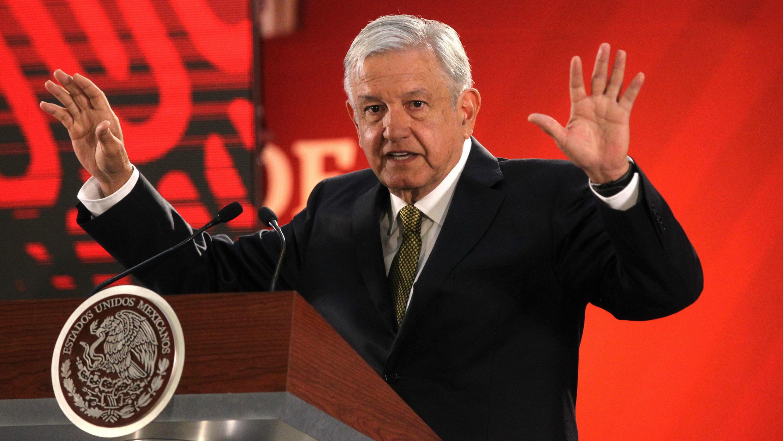 Andrés Manuel López Obrador en rueda de prensa en el Palacio Nacional, en Ciudad de México, México, el 8 de febrero de 2019.