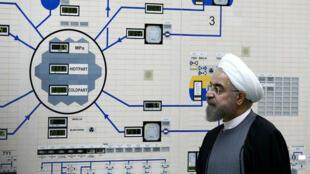 Le président iranien, Hassan Rohani, en visite dans une centrale nucléaire à Bushehr, en janvier 2015.
