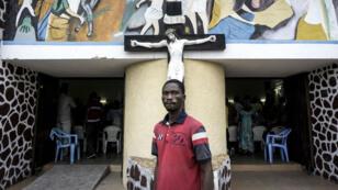 Devant une église de Kinshasa, lors des marches anti-Kabila, le 21 janvier 2018.