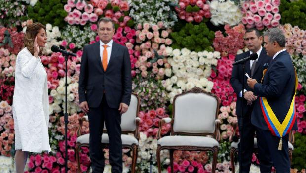 Marta Lucía Ramírez durante su posesión como vicepresidenta de Colombia junto al nuevo mandatario, Iván Duque, el 7 de agosto de 2018 en Bogotá, Colombia.