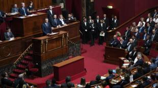 Le président français, Emmanuel Macron, s'est exprimé devant les députés réunis en Congrès à Versailles, le 3 juillet 2017.
