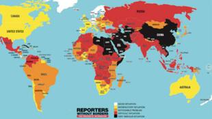 Ilustración del panorama mundial de la libertad de prensa descrito por Reporteros sin Fronteras el 25 de abril de 2018.