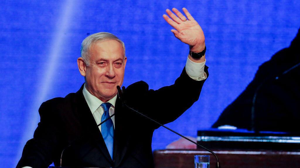 El primer ministro israelí, Benjamin Netanyahu, habla en la sede del partido Likud en Tel Aviv, Israel, el 18 de septiembre de 2019.