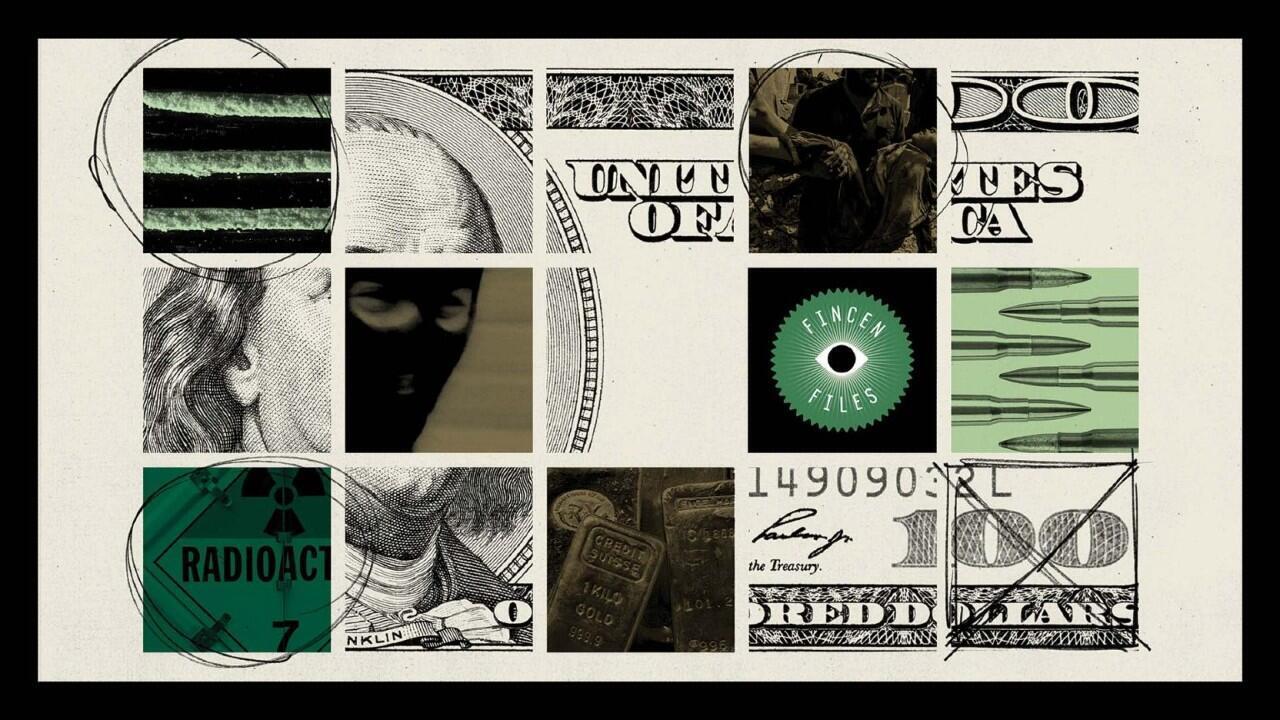 Imagen de cabecera de la página del ICIJ, sobre la investigación que revela el papel de los banco en el lavado de dinero a escala global, y el derramamiento de sangre y el sufrimiento que fluye a su paso.