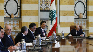 Lebanon's President Michel Aoun heads the first meeting of the new cabinet at the presidential palace in Baabda, Lebanon on January 22, 2020.
