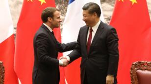 Emmanuel Macron et Xi Jinping, mardi 9 janvier 2018, à Pékin.