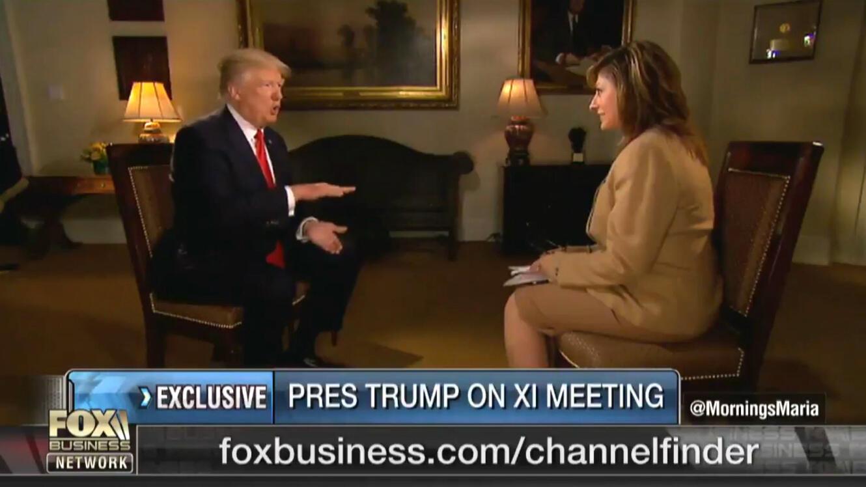 """الرئيس الأمريكي دونالد ترامب خلال مقابلة تلفزيونية مع قناة """"فوكس بيزنس"""""""