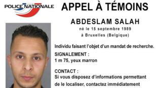 La préfecture de police de Paris a diffusé la photo d'un suspect des attaques de Paris.