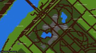 Une carte de Paris et d'autres villes du monde façon jeu Nintendo par Brett Camper.