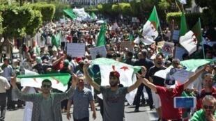 جزائريون يتظاهرون ضد النظام في العاصمة الجزائر في 10 أيار/مايو 2019.