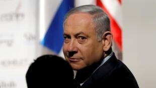 رئيس الوزراء الإسرائيلي بنيامين نتانياهو خلال مؤتمر في القدس. 8 يناير/كانون الثاني 2020.