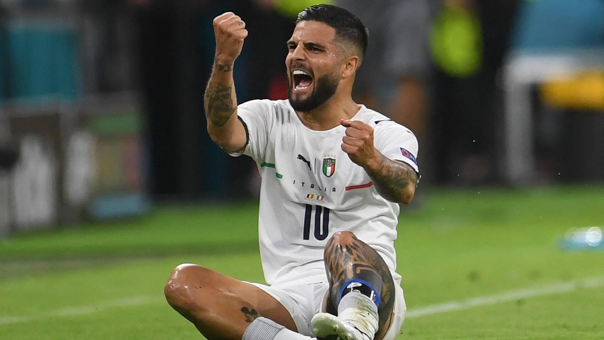 La joie de Lorenzo Insigne après son but face à la Belgique.