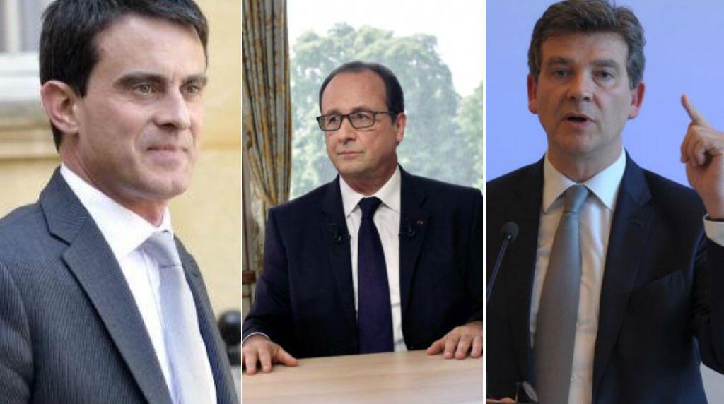 Manuel Valls, François Hollande et Arnaud Montebourg.