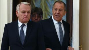 Jean-Marc Ayrault était à Moscou, jeudi 6 octobre 2016, pour parler de la Syrie avec son homologue Sergueï Lavrov.
