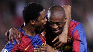 Samuel Eto'o et Yaya Touré, réunis en 2008 sous le maillot du FC Barcelone.
