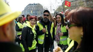 Jérôme Rodrigues, une des figures des Gilets jaunes, lors de l'acteXXI du mouvement à Paris, le 6avril2019.